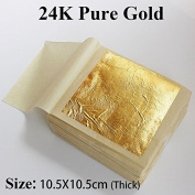 10 PCS 24K Thick Genuine Gold leaf, 10.5X10.5 cm, a big size real gold foil , facial beauty\edible for cake \gilding for craft