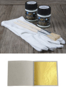300 Sheets Imitation Gold Leaf Leaves 48 mm x 48 mm + 1 x Glue 50ml + 1 x Coating Varnish + 1 x Gloves + 2 x Brush