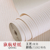 BABYQUEEN Modern And Minimalist Solid Colour Striped Wallpaper The Living Room Tv Background The Bedrooms Are Non-Woven Cloth Wallpaper 0.53*10M Pink
