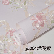 BABYQUEEN Continental Non-Woven Cloth Wallpaper Embossed Warm Idyllic Bedroom Living Room Tv Background Marriage Wall Paper Minimalist Modern Purple 0.53*10m