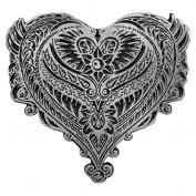 ORNATE ANGEL WINGS HEART, Original Artwork, Expertly Designed Lead Free Pewter Biker PIN