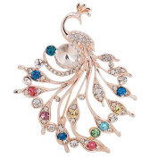 Hosaire 1X Fashion Personality Peacock Pearls Women's Brooch Pin Rhinestone Covered Scarves Shawl Clip For Women Ladies