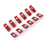 Pack of 12 Plastic Clips Clamps for Binding Sewing Crafts Clear and Red
