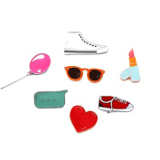 Shoppingmoon Cute Brooch Pins Shoes Balloon Glasses Lipstick Pins Badge for Girls Students Clothing Bag Decoration Pack 7pcs