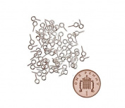 100 x Small Tiny Mini Eye Pins Eyepins Hooks Eyelets Screw Threaded Silver 8mm