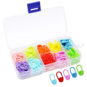 Homgaty 120Pcs Knitting Crochet Locking Stitch Markers 10 Colours with Compartment Box