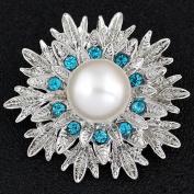 Gemini_mall Elegant Flower Rhinestone Crytal Brooch Pin for Women