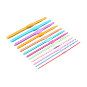 sourcingmap® Aluminium Alloy Household Weave Craft Knitting Sweater Needle Set 12 in 1 Assorted Colour