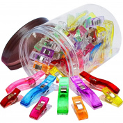 100 PCS 2 Sizes Plastic Multi-purpose Sewing Quilting Crafting Clip Craft Clips Tools Accessories Mixed Colour with Storage Jar