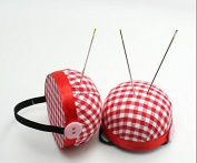 Topways® 60mm DIY Red Cheque Wrist Pin Cushion