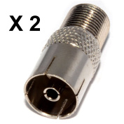 2 x Nartel F Type Screw Connector Socket to RF Coax Aerial Female Adapter