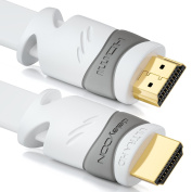 deleyCON (6.57 ft.) 2m flat HDMI cable - compatible with HDMI 2.0/1.4 - UHD 4K HDR 3D 1080p 2160p ARC - High speed with Ethernet - white