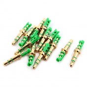sourcingmap® Earphone Adapter Headphone Male Connector Stereo Audio Jack 13 Pcs Gold Tone Green
