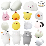 APLANET 16 Animal Squishies Rice Cake Stretchy Toys Sticky Pressure Release Toys Mini Squishies Kawaii, Rabbit Duck Pig Tiger and so on