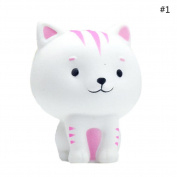 HAPPYQUDA Kawaii Rebound Squeeze Jumbo Stress Stretch Squishy Lovely Kitten Dolls Soft Slow Rising Toys White