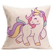 Nuohuilekeji Unicorn Pattern Decorative Throw Pillow Case Sofa Waist Car Cushion Cover