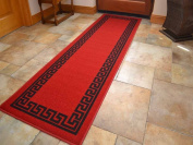 Red Greek Key Non Slip Machine Washable Rug. Available in 6 Sizes