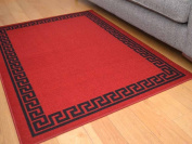 Red Greek Key Non Slip Machine Washable Rug. Available in 7 Sizes