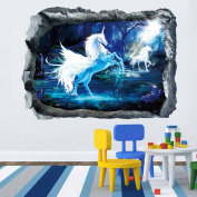 Gemini_mall® 3D Effect Unicorn Wall Sticker Bedroom Living Room Decor DIY Removable Wall Art Decals