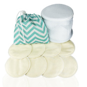 Washable Bamboo Breast Pads – Waterproof with 4 Positions – Cotton Silk – Organic Quality with Laundry Net and Carry Bags. Leak-proof White Pads