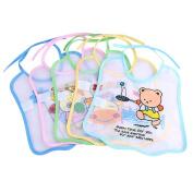 Baby Bib, Fascigirl 5Pcs Unisex Bibs Cartoon Pattern Waterproof Bandana Drool Bibs for Infants
