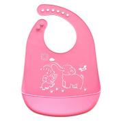 Unisex Waterproof Silicone Cute Cartoon Baby Drooling Teething Bib for Infants Toddlers Baby Feeding Accessories Pink