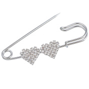 Souarts Silver Tone Colour Heart Shaped Rhinestone Brooch Fasteners Clips Safety Pin Jewellery