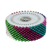 JUNGEN 480PCS Needlework Assorted Colour Pearl Head Sewing Corsage Pins
