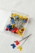 Redchocol8(R) 40 pcs Butterfly Head Sewing Pins 54mm Long Quilting Dressmaking Serging Pinweaving
