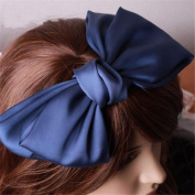 Girl's Cute Fashion Korea Style Big Bowknot Hair Band Hairpin Hair Accessory Dark Blue