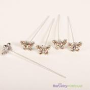 FloristryWarehouse Faux Diamond Butterfly Pins x 5 Gold