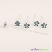 FloristryWarehouse Faux Diamond Flower Pins x 5 Turquoise
