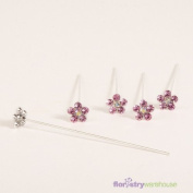 FloristryWarehouse Faux Diamond Flower Pins x 5 Pink