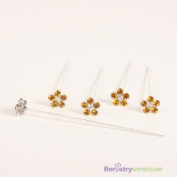 FloristryWarehouse Faux Diamond Flower Pins x 5 Gold