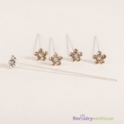 FloristryWarehouse Faux Diamond Flower Pins x 5 Coral