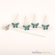 FloristryWarehouse Faux Diamond Butterfly Pins x 5 Turquoise