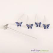 FloristryWarehouse Faux Diamond Butterfly Pins x 5 Sapphire