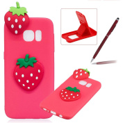 TPU Case for Samsung Galaxy S6,Soft Rubber Cover for Samsung Galaxy S6,Herzzer Ultra Slim Stylish 3D Strawberry Series Design Scratch Resistant Shock Absorbing Flexible Silicone Back Case