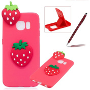 TPU Case for Samsung Galaxy S6 Edge,Soft Rubber Cover for Samsung Galaxy S6 Edge,Herzzer Ultra Slim Stylish 3D Strawberry Series Design Scratch Resistant Shock Absorbing Flexible Silicone Back Case
