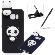 TPU Case for Samsung Galaxy S6 Edge,Soft Rubber Cover for Samsung Galaxy S6 Edge,Herzzer Ultra Slim Stylish 3D Black Panda Series Design Scratch Resistant Shock Absorbing Flexible Silicone Back Case