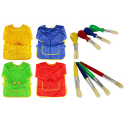 4 Kids Coloured Wipe Clean Painting Smock Aprons & 8 Hog Bristle Paint Brushes