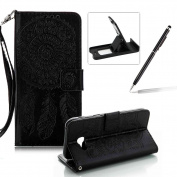 Strap Pu Leather Case for Samsung Galaxy A320 2017,Wallet Flip Cover for Samsung Galaxy A320 2017,Herzzer Classic Elegant Book Style [Black Wind Chime] Embossed Slim Fit Stand Leather Folio Pouch Protective Mobile Cellphone Case for Samsung Galaxy A320 ..