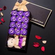 Yunhigh Handmade Flower Soap Scented Bath Flowers Rose Petals Soap in Quality Gift Box for Mother Teachers Wedding Anniversary Valentine's Day Home Decoration- Purple