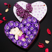 Yunhigh Handmade Flower Soap Scented Bath Flowers Rose Petals Soap in Heart-shaped Gift Box for Mother Teachers Wedding Anniversary Valentine's Day Home Decoration- Purple