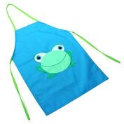 Philna12 Kids Children Cute Cartoon Frog Printed Painting Waterproof Apron Cooking