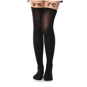Viskey Sexy Tattoo Cat Fake Over-the-knee Silk Stockings,Bowknot