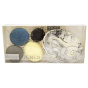 Hana Blossom Fair Trade Handmade Soap in Big Pebble Design and Assorted Colours with White Porcelain Soap Dish Gift Set