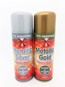 Set of 2 - Metallic Gold & Silver Spray Paint (200ml p/can) - Its Christmas! - For Interior and Exterior Use - Swan household ®