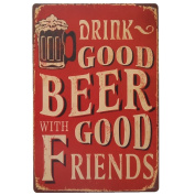 Beer Bar Signs Wall Sticker - KAYI Wine Beer Cocktail Poster Retro Tin Wall Plate Wall Poster Iron - 7.87 * 30cm