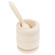 Mortar Wood Pestle STAPFER Crusher Garlic Press, Natural